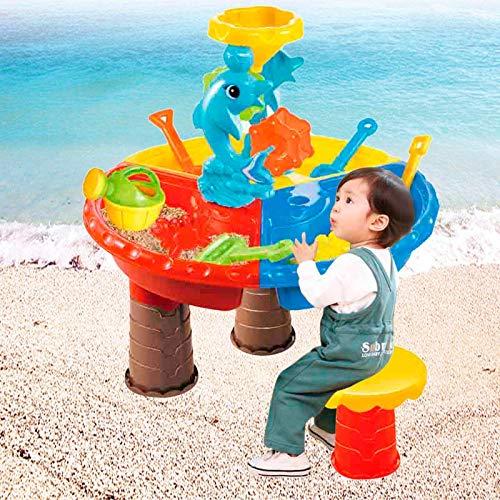 Popular Niños Playa Sandpit Juguete Verano Al Aire Libre Arena Cubo Agua Rueda Mesa Juego Niños Aprendizaje Educación Juguete Delfín Playa Mesa FDWFN