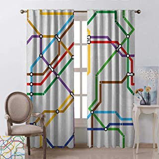 GUUVOR Map Heat Insulation Curtain Stripes in Vibrant Colors Metro Scheme Subway Stations Abstract Railroad Transportation for Living Room or Bedroom W42 x L63 Inch Multicolor