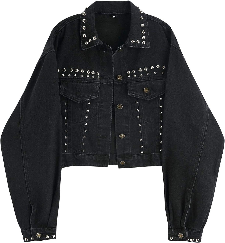 HALITOSS Women Beaded Decoration Black Denim Jacket Short Coat High Waist Outerwear