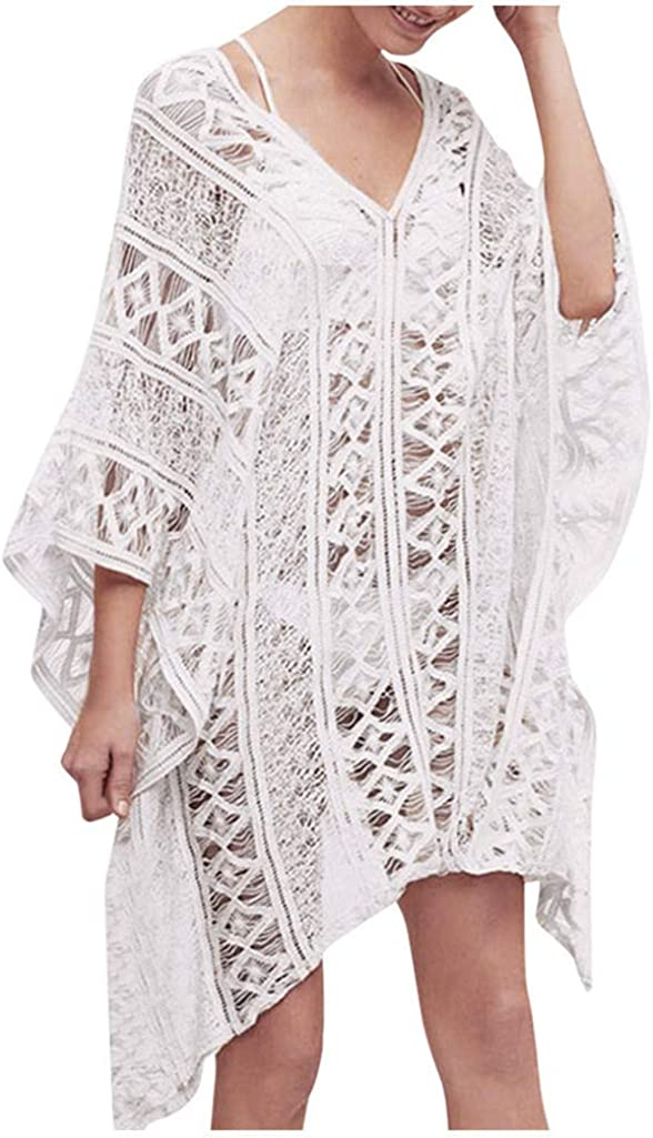 Forthery-Women Sexy Floral Sheer Lace Cover Ups Bathing Suit Swim Bikini Swimsuit Oversized Cover Up Dresses(White,Free Size)