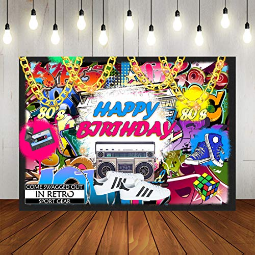 Retro Hip Pop Happy Birthday Backdrop Urban Graffiti 80s 90s Theme Party Photography Background Personalized Portrait Decorations Banner Photo Booth Props 7x5ft Vinyl