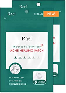 Rael Microneedle Acne Healing Patch - Pimple Acne Spot Tea Tree Treatment (2 Pack, 18 Patches)