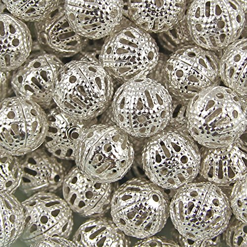 AMZ Beads - Package of 200! Gold or Silver Plated Hollow Filigree Round Ball Metal Spacer Beads for Jewelry Making DIY Craft Projects (8MM) 1mm Hole (Silver)