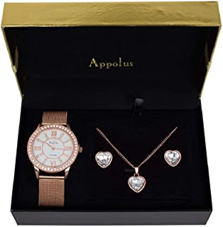 Christmas Gifts For Her - Best Gift For Woman Mom Wife Birthday Anniversary Graduation Wedding - Appolus Mesh Band Watch Necklace Earrings Set Rose GoldTone