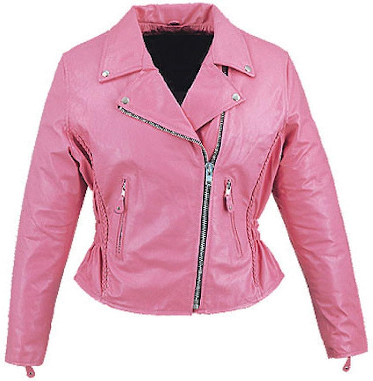 Fadcloset Womens Pink Cruiser Biker Jacket