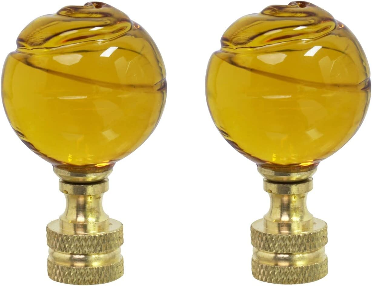 Unknown1 2 Pack Yellow Glass Ball in Fin Brass At the price of surprise Finial Lamp New sales Solid