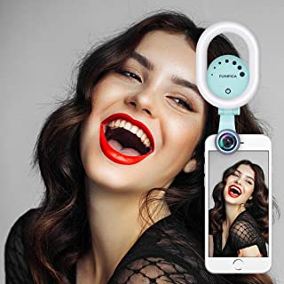 Selfie Ring Light with 120° Wide Angle Lens, Evershop Clip-on Rechargeable LED Fill Light for iPhone, Samsung, Huawei and All Smartphones/Tablets/Computer