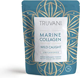 TRUVANI - Wild Caught Hydrolyzed Marine Collagen Protein Powder | Collagen Protein Supplement with Type 1,2 & 3 | Anti-Skin Aging | Non-GMO | Mercury Free | Gluten Free Fish Collagen | 6.35 OZ