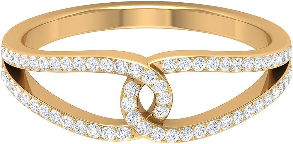 0.24 Carat SGL Certified Diamond Unique Split Shank Ring, Women Interlocking Bridal Wedding Band, Minimalist Promise Matching Forever Anniversary Ring, 14K Gold