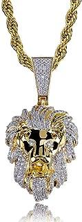 Moca Gioielli Hip Hop Animale Leone Ghiacciato Pendente Catena di diamanti completamente simulata Collana placcata oro 18 ...