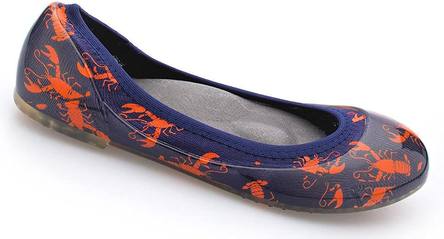 Ja-vie Comfy Jelly Knit Flats, Red Lobster, Navy