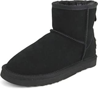 Women's Water Resistant Classic Leather Mini Snow Boots 5154 Black 8.5US 39