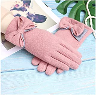 SHENTIANWEI Women's Winter Gloves Touch Screen Plus Velvet Thick Warm Cashmere Gloves (Color : Pink, Size : One size)
