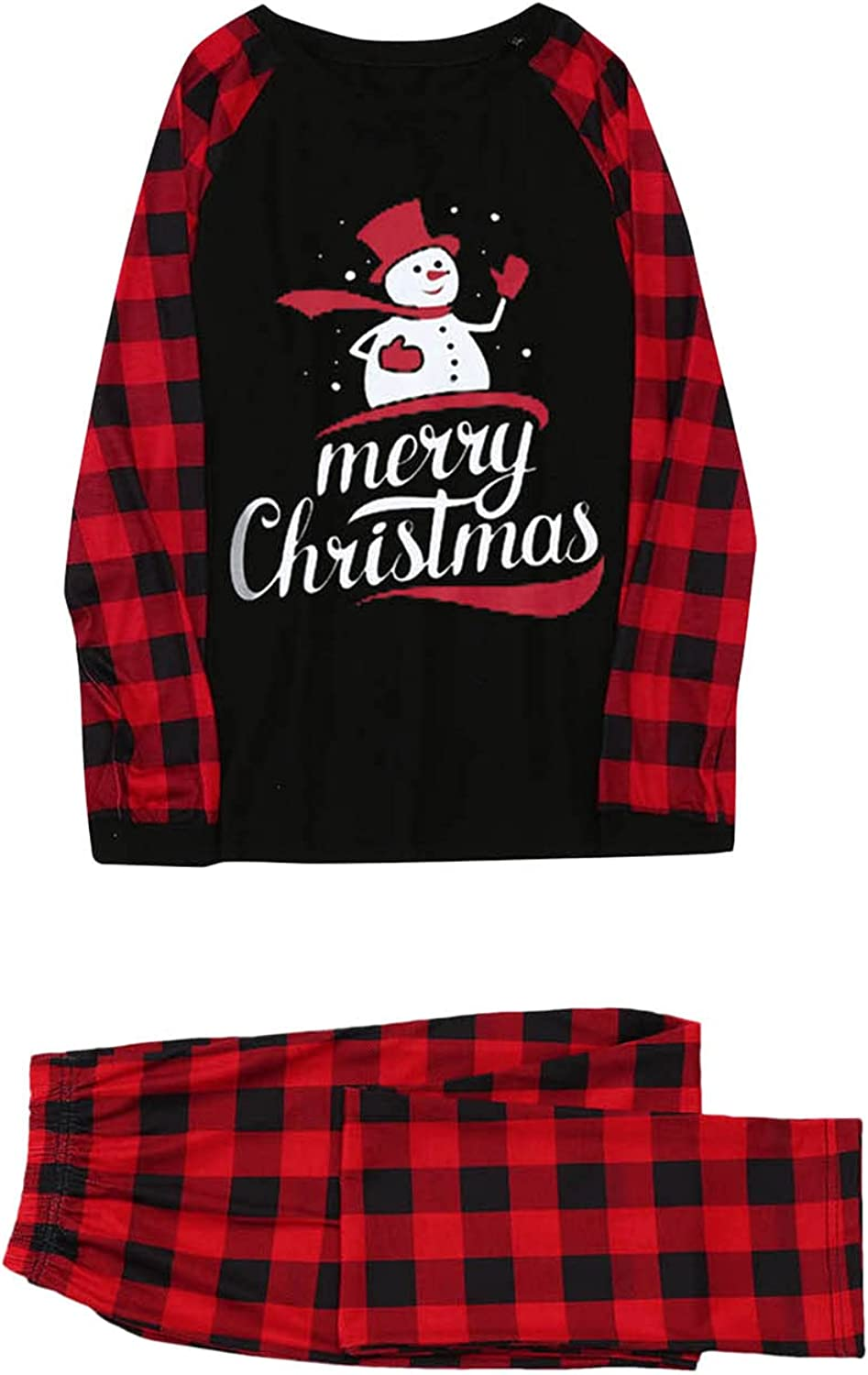 DVCB Christmas Pajamas for Family Round Neck Check Large Size Sleepwear Snowman Print Homewear for Mommy
