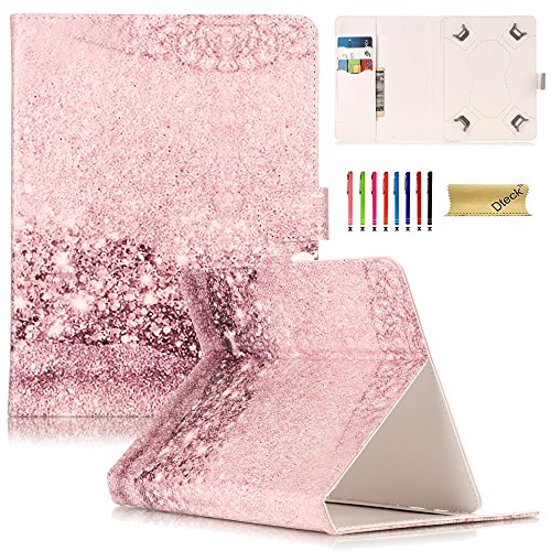 Universal 8.0 inch Tablet Case, Dteck Universal Kickstand Flip Wallet Case with Cards/Money Slots Magnetic Buckle Cover for All 7.5-8.5 inch iPad Mini, Galaxy Tab, Android IOS Tablet, Pink Diamond