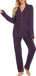 مجموعة بيجامات من Ekouaer بأكمام طويلة ملابس نوم نسائية بأزرار سفلية ناعمة Pj Lounge مجموعات XS-XXL