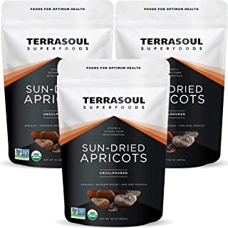 Terrasoul Superfoods Organic Apricots, 6 Lbs (3 Pack) - Sun-dried | Unsulphured | Fiber