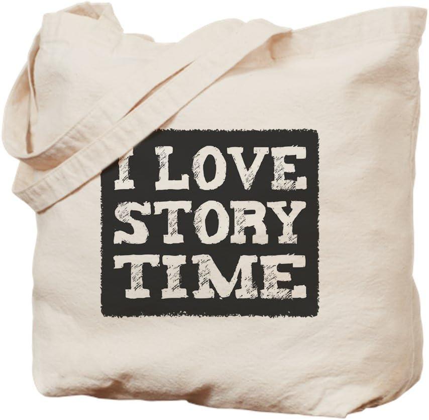 CafePress I Love Story Time Tote Bag Natural Canvas Tote Bag, Reusable Shopping Bag