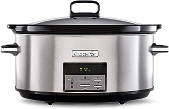 Crock-Pot CSC063X Digitale Slowcooker, Instelbare Gaartijd, 7,5 liter (10 personen), Roestvrij Staal, Zilver en Zwart