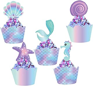 Mermaid Cupcake Toppers and Wrappers, 40 pcs Double Side Little Mermaid Theme Decoration,Under The Sea Theme, Baby Shower Birthday Party Favor