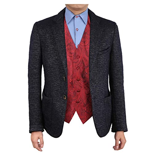 27e6d2eda710 Epoint EGC1B01C-S Dark Red Patterned Valentine Gift for Him Waistcoat Woven  Microfiber Handmade Gifts