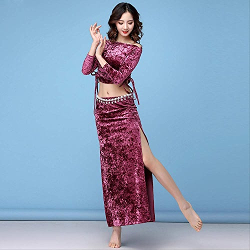 KLMWDDPWY Danse du Ventre Costume Femme Hiver Printemps Femmes VêteHommests De Danse Classe Porter Robe Moulante Hors épaule Robe Classique Costume De Danse du Ventre Ensemble Top & Jupe