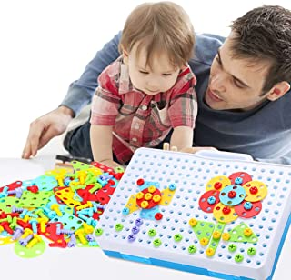 Sanwooden Toy Gift Puzzle Toy Kids Educational Early Learning Screw Drill Toy Matching Geometry Puzzle Jigsaw Toys for All Ages