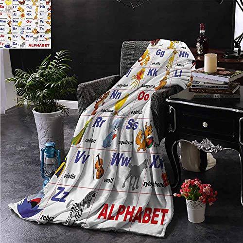 ZSUO bont gooien deken Dieren Geplaatst op Brief van het Alfabet Leraren Grafiek Klas Kleuterschool voor bed & Bank Sofa Easy Care 70
