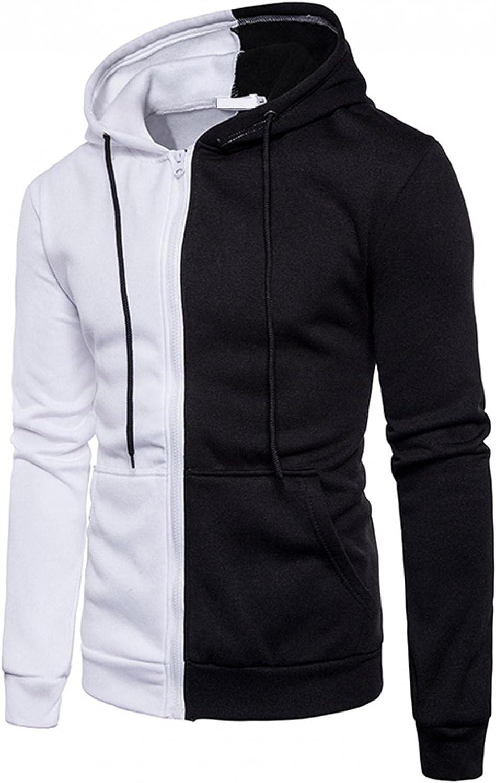 LEIYAN Mens Colorblock Hoodie Casual Lightweight Long Sleeve Loose Fit Zip Up Sport Sweatshirt Pullover