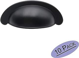 10 Pack goldenwarm Bin Cup Drawer Pulls Black Cabinet Hardware - LS614BK70 Modern Hardware for Drawer Dresser Kitchen Cupboard Bedroom Bathroom Furniture Door, 2.75in Hole Centers