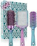 TRIO de Brosses à Cheveux Lily England – Brosses à Cheveux Professionnelles Ronde, Squelette et Plate pour Tous Types de Cheveux, Sirène/Ombre
