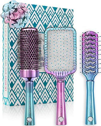 Lily England Haarbürsten Set | Luxus Haar Styling Set mit Haarbürste, Rundbürste, Skelettbürste im Ombre Türkis Lila Look | für dünnes & dickes Haar