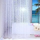Duschvorhang Anti-Schimmel und Wasserdicht Halbtransparent Kieselsteine PEVA Duschvorhang für Badezimmer mit Haken 150x200cm