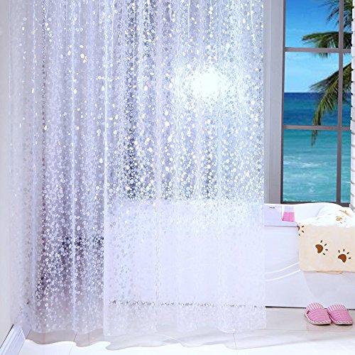 Duschvorhang Anti-Schimmel und Wasserdicht Halbtransparent Kieselsteine PEVA Duschvorhang für Badezimmer mit Haken 120x200cm