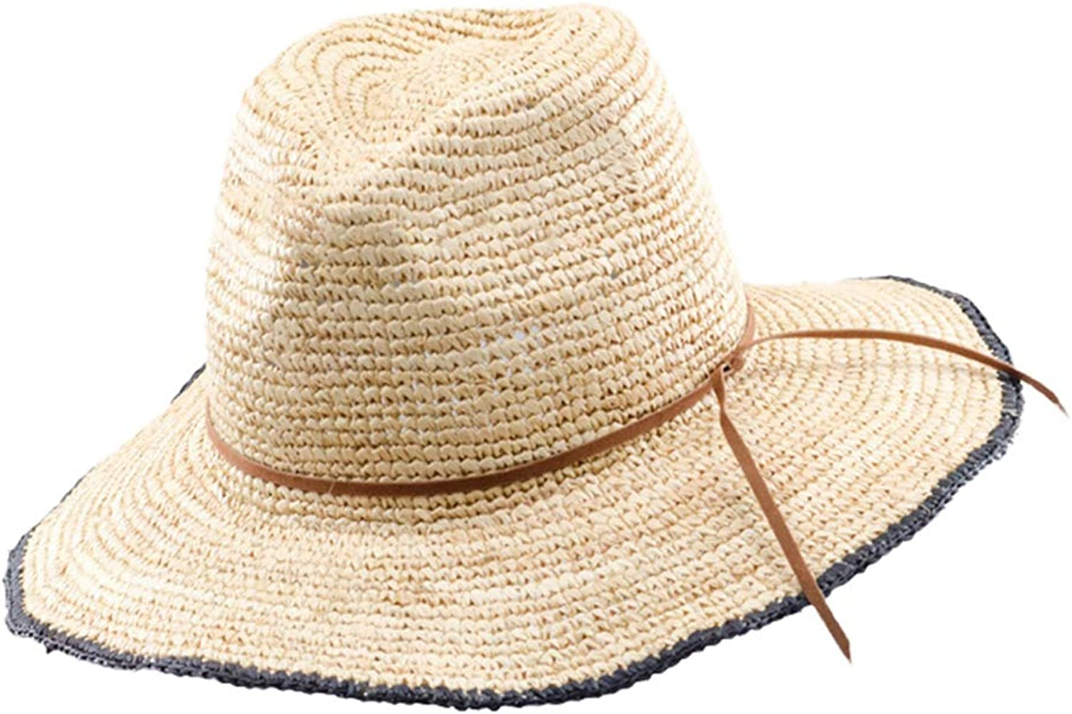 Summer Woven Natural Straw Hats Raffia Jazz Casual Large Brim Bow Travel Beach Sun Hat