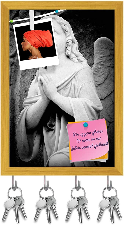 Artzfolio Angel in an Old Gothic Church Key Holder Hooks   Notice Pin Board   golden Frame 6 X 8.5Inch