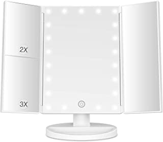 BESTOPE Makeup Vanity Mirror with Lights, 2X/3X Magnification, 21 Led Lighted Mirror with Touch...