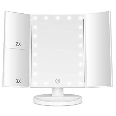 BESTOPE Makeup Mirror with Lights 21 Led Light Up Mirror with 2X/3X Magnification Vanity Mirror with Lights Touch Screen 180 Degree Rotation Dual Power Supply