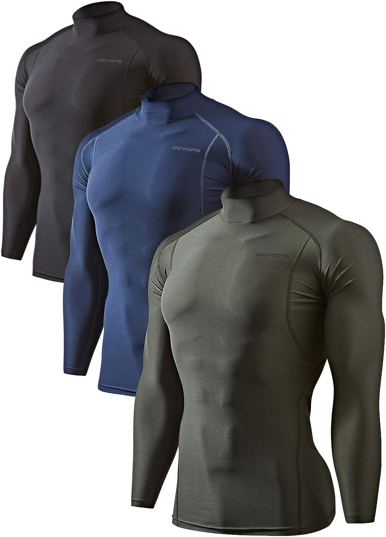 Selling DEVOPS 2~3 Pack Men's Athletic Sleeve Long Wholesale Compressi Turtle Neck