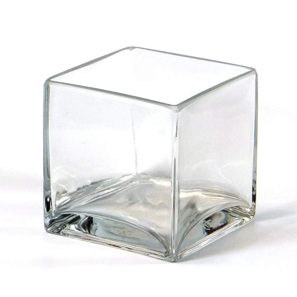 40x12 cm Vase rectangulaire JACK en verre transparent 18 cm Vase /à fleurs // Vase carr/é INNA Glas