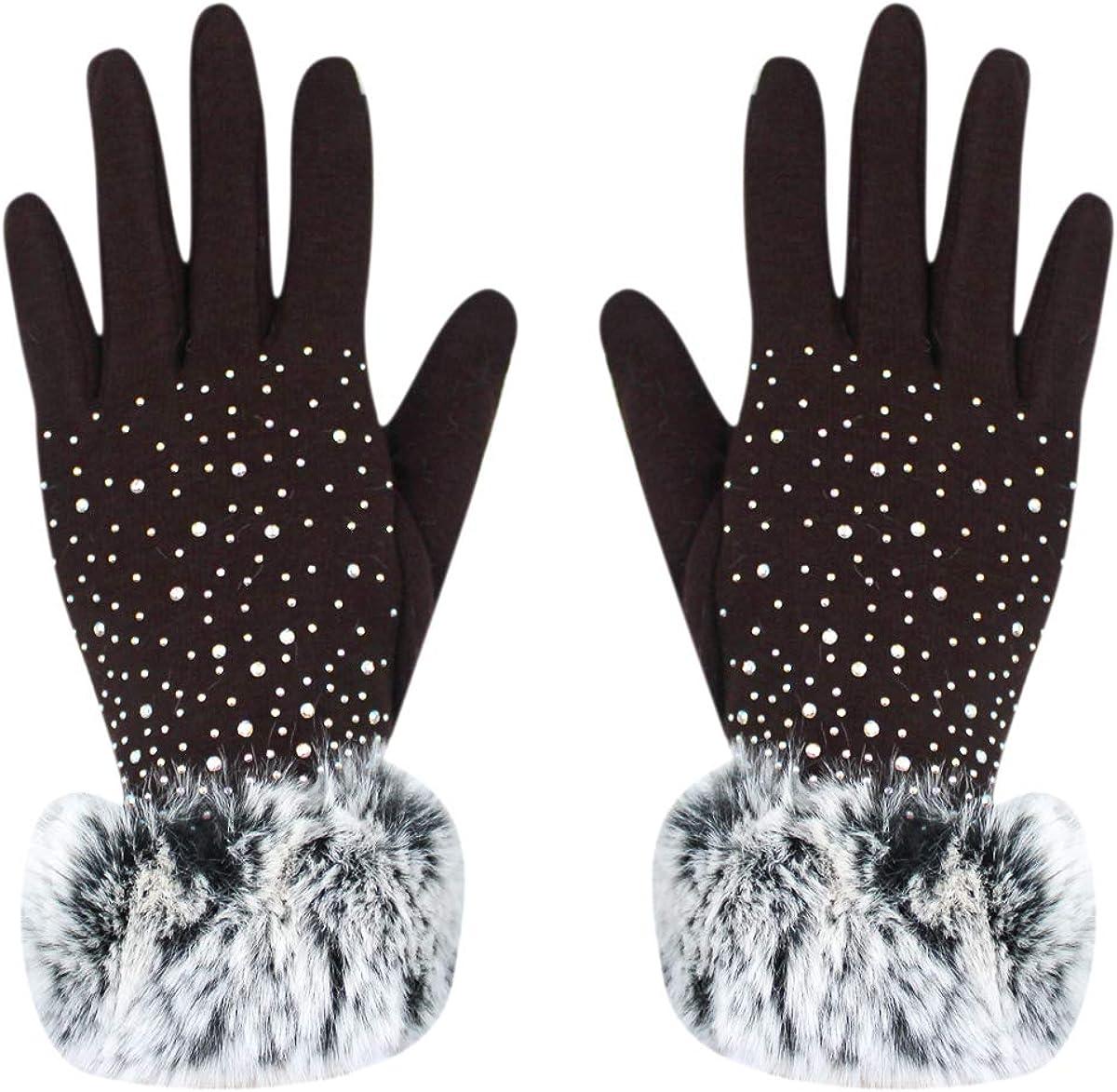 Women Luxurious Rhinestones Winter Gloves Touchscreen Fleece Lined Mittens with Rabbit Fur Cuffs