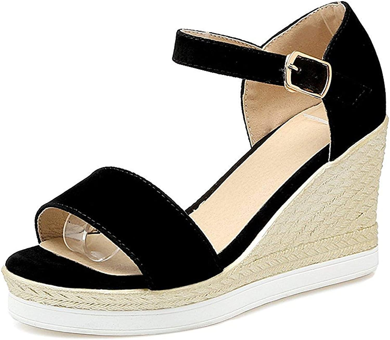 Unm Women's Open Toe Wedge Sandals with Ankle Strap - Buckled Platform Casual - color-Contrasted High Heel