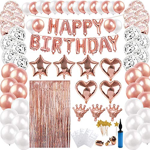 100 piezas de decoraciones para fiesta de cumpleaños de oro rosa,  pancarta de feliz cumpleaños Globo de látex con globo de papel de aluminio Bomba de globo Globos de papel de corazón de estrella