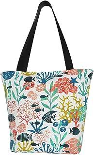 Lesif Einkaufstaschen, Meerespflanzen und Fische in Wasserfarbe, Rosa, Segeltuch, Schultertasche, wiederverwendbar, faltbar, Reisetasche, groß und langlebig, robuste Einkaufstaschen