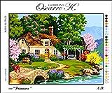 Oscarre K. gobelins Krainer Kit para Bordar Cañamazo Estampado para Medio Punto Cottage 49x38 Cod K90