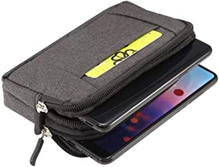 DFV mobile - Multipurpose Horizontal Belt Case 2 Compartments Zipper for Bush Mobile Windows Phone (2014) - Black (15x8cm)