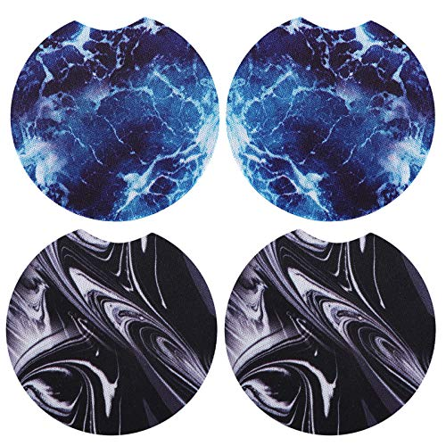 Absorbent Car Coasters for Drinks, Universal 2.75inch Car Coaster for Cup Holders, Accmor 4 Packs Neoprene Marble Cup Holder Coasters Car Accessories for Women Girls Men