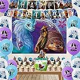 96pcs Raya y el último dragón decoraciones de cumpleaños Raya y el último dragón Pegatinas telón de fondo Globos Banner (46 piezas+7 x 5 pies, raya)
