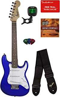 Squier by Fender Mini Strat Electric Guitar - Imperial Blue Bundle with Tuner, Strap, Picks, Fender Play Online Lessons, Austin Bazaar Instructional DVD, and Polishing Cloth