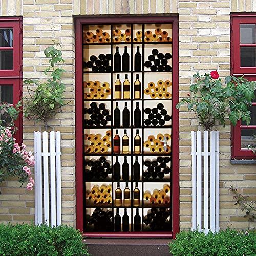 SONYUN Pegatinas Puertas Adhesivo 88X200cm Armario para Botellas De Vino Personalizado para Puertas Papel Pintado Puertas Autoadhesivo, Impermeable Papel Pintado Puerta Mural Puertas Pegatinas 3D Par